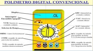 Ejemplo de multimetro o polimetro, imprescindible en electrónica.