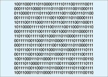 Estructura de código binario. Cada ocho dígitos equivale a un byte. Sería casi imposible representar gráficamente un kilobyte en una imagen.