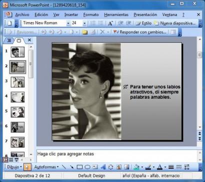 Cualquier idea por ridícula que sea puede ser presentada por powerpoint. Aquí un ejemplo de diseño de hojas.