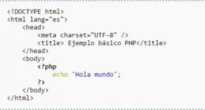 Podemos ver en negrita la insercion de código PHP dentro de código HTML, a esto se le llama en informatica codigo insertado o embedded.